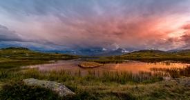 Sunset over the lake guichard