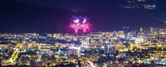Coucher de soleil et soirée feux d'artifices – 13/07/17 Grenoble
